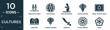 Filled Cultures Icon Set. Contain Flat Terracotta Army, Portuguese, Muslim Praying, Paper Lantern, Israel Star Of David, Cemetery, Chinese Lantern, Scimitar, Pa Kua Mirror, David Icons In Editable.