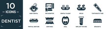 Filled Dentist Icon Set. Contain Flat Baby Dental, Ekg Monitor, Dental Plaque, Decay, Toothpaste Tube, Partial Denture, Dentures, Oral, Implant Fixture, Brackets Icons In Editable Format..