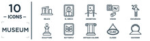 Museum Linear Icon Set. Includes Thin Line Relics, Exhibition, Excursion, Butterfly, Closed, Souvenir, Sculpture Icons For Report, Presentation, Diagram, Web Design