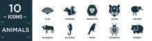 Filled Animals Icon Set. Contain Flat Clam, Chipmunk, Orangutan, Jaguar, Kiwi Bird, Wildebeest, Sea Horse, Raven, Cockroach, Wombat Icons In Editable Format..