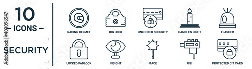 Fototapeta security linear icon set. includes thin line racing helmet, unlocked security of cit transaction, flasher, insight, uzi, protected cit card, locked padlock icons for report, presentation, diagram, obraz