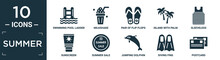 Filled Summer Icon Set. Contain Flat Swimming Pool Ladder, Milkshake, Pair Of Flip Flops, Island With Palm Trees, Sleeveless, Sunscreen, Summer Sale, Jumping Dolphin, Diving Fins, Postcard Icons In.