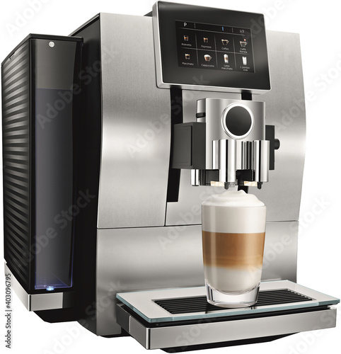 Foto Automatic coffee machine with touch screen makes coffee in glass cup isolated on