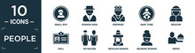 Filled People Icon Set. Contain Flat Small Boy, Spanish Man, Emperor, Baby Zone, Bedouin, Null, No Racism, Mexican Woman, Bearded Woman, Serve Icons In Editable Format..