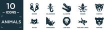 Filled Animals Icon Set. Contain Flat Badger, Salamander, Alligator, Kraken, Cheetah, Kitten, Rhinoceros, Lion Head, Fish And A Knife, Panther Icons In Editable Format..