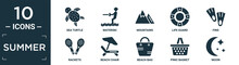 Filled Summer Icon Set. Contain Flat Sea Turtle, Waterski, Mountains, Life Guard, Fins, Rackets, Beach Chair, Beach Bag, Pinic Basket, Moon Icons In Editable Format..