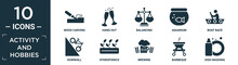 Filled Activity And Hobbies Icon Set. Contain Flat Wood Carving, Hang Out, Balancing, Aquarium, Boat Race, Downhill, Hydroponics, Brewing, Barbeque, Dish Washing Icons In Editable Format..