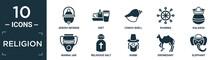 Filled Religion Icon Set. Contain Flat Jewish Incense, Diet, Conch Shell, Dharma, Kalasha, Manna Jar, Religious Salt, Rabbi, Dromedary, Elephant Icons In Editable Format..