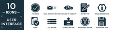 Filled User Interface Icon Set. Contain Flat Tick Mark, Email Envelope Button, Eye Close Up Visibility Button, Edit Button, Round Information Form, List Extract Round Help Floppy Disk Save Icons In.