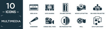Filled Multimedia Icon Set. Contain Flat Web Log In, Data Sharing, Volume Control, Movie Clip Button, Big Video Projector, Condenser, Cinema Reel Video Camera, Big Pause Button, Roll, Data Flow.