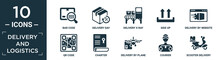 Filled Delivery And Logistics Icon Set. Contain Flat Bar Code, Delivery Day, Delivery X Ray, Side Up, Delivery By Website, Qr Code, Charter, By Plane, Courier, Scooter Icons In Editable Format..