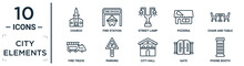 City.elements Linear Icon Set. Includes Thin Line Church, Street Lamp, Chair And Table, Parking, Gate, Phone Booth, Fire Truck Icons For Report, Presentation, Diagram, Web Design
