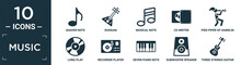 Filled Music Icon Set. Contain Flat Quaver Note, Russian, Musical Note, Cd Writer, Pied Piper Of Hamelin, Long Play, Recorder Player, Seven Piano Keys, Subwoofer Speaker, Three Strings Guitar Icons.