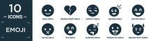 Filled Emoji Icon Set. Contain Flat Smile Emoji, Broken Heart Emoji, Suspect Imagine Excited Muted Sca Sleeping Tongue Out Smiling With Horns Icons In Editable Format..