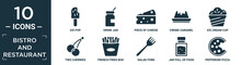 Filled Bistro And Restaurant Icon Set. Contain Flat Ice Pop, Drink Jar, Piece Of Cheese, Creme Caramel, Ice Cream Cup, Two Cherries, French Fries Box, Salad Fork, Jar Full Of Food, Pepperoni Pizza.