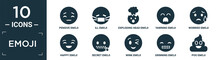Filled Emoji Icon Set. Contain Flat Pensive Emoji, Ill Emoji, Exploding Head Yawning Worried Happy Secret Wink Grinning Poo Icons In Editable Format..
