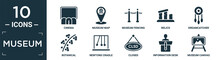 Filled Museum Icon Set. Contain Flat Cinema, Museum Map, Museum Fencing, Relics, Dreamcatcher, Botanical, Newtons Cradle, Closed, Information Desk, Canvas Icons In Editable Format..
