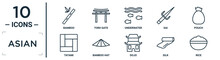 Asian Linear Icon Set. Includes Thin Line Bamboo, Underwater, Pouch, Bamboo Hat, Silk, Rice, Tatami Icons For Report, Presentation, Diagram, Web Design
