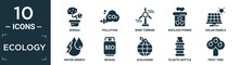 Filled Ecology Icon Set. Contain Flat Bonsai, Pollution, Wind Turbine, Nuclear Power, Solar Panels, Water Energy, Biogas, Ecologism, Plastic Bottle, Fruit Tree Icons In Editable Format..