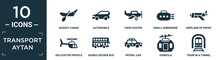 Filled Transport Aytan Icon Set. Contain Flat Dugout Canoe, Automobile, Crop Duster, Small Submarine, Airplane Of Paper Sheet, Helicopter Profile, Double Decker Bus, Patrol Car, Gondola, Train In A.