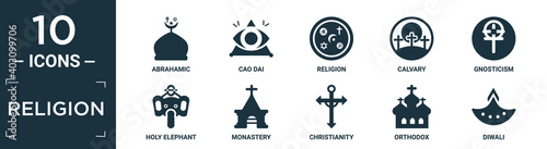 Papel de parede filled religion icon set