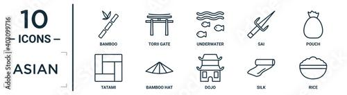 Fotografia asian linear icon set
