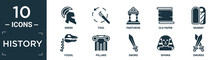 Filled History Icon Set. Contain Flat Greek, Tool, Pantheon, Old Paper, Mummy, Fossil, Pillars, Sword, Sphinx, Swords Icons In Editable Format..