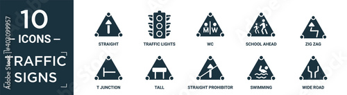 Foto filled traffic signs icon set