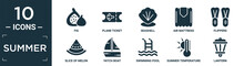 Filled Summer Icon Set. Contain Flat Fig, Plane Ticket, Seashell, Air Mattress, Flippers, Slice Of Melon, Yatch Boat, Swimming Pool, Summer Temperature, Lantern Icons In Editable Format..
