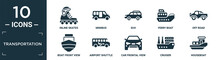 Filled Transportation Icon Set. Contain Flat Inline Skates, Minibus, Suv, Ferry Boat, Off Road, Boat Front View, Airport Shuttle, Car Frontal View, Cruiser, Houseboat Icons In Editable Format..