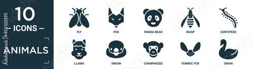 Foto filled animals icon set
