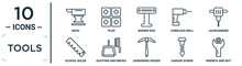 Tools Linear Icon Set. Includes Thin Line Anvil, Boning Rod, Jackhammer, Dustpan And Brush, Garage Screw, Wrench And Nut, School Ruler Icons For Report, Presentation, Diagram, Web Design