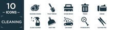 Filled Cleaning Icon Set. Contain Flat Washing Dishes, Toilet Brush, Scrub Brush, Trash, Cream, Glass Cleaner, Dust Pan, Car Wash, Hygroscopic, Clothes Peg Icons In Editable Format..