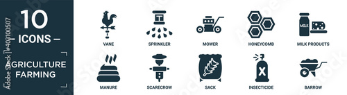filled agriculture farming icon set Wallpaper Mural