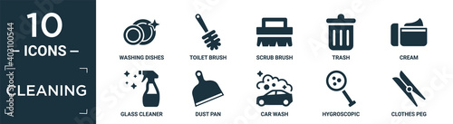 Foto filled cleaning icon set