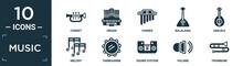 Filled Music Icon Set. Contain Flat Cornet, Organ, Chimes, Balalaika, Ukelele, Melody, Tambourine, Sound System, Volume, Trombone Icons In Editable Format..