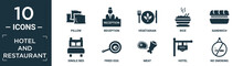 Filled Hotel And Restaurant Icon Set. Contain Flat Pillow, Reception, Vegetarian, Rice, Sandwich, Single Bed, Fried Egg, Meat, Hotel, No Smoking Icons In Editable Format..