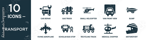 Canvas filled transport icon set