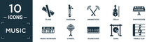 Filled Music Icon Set. Contain Flat Clave, Bassoon, Drumsticks, Cello, Synthesizer, Music Keyboard, Cymbal, Sound Bars, Gong, Treble Clef Icons In Editable Format..