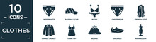 Filled Clothes Icon Set. Contain Flat Underpants, Baseball Cap, Bikini, Underwear, Trench Coat, Dinner Jacket, Tank Top, Beanie, Sneaker, Mannequin Icons In Editable Format..