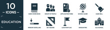 Filled Education Icon Set. Contain Flat Hard Cover Book, Group Of People, Application Form, School Globe, Hand Bell, Window Scrolling Left, Set Square, Location Flag, Graduating, Old School Icons In.