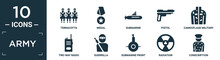 Filled Army Icon Set. Contain Flat Terracotta, Medal, Submarine, Pistol, Camouflage Military Clothing, Two Way Radio, Guerrilla, Submarine Front View, Radiation, Conscription Icons In Editable.