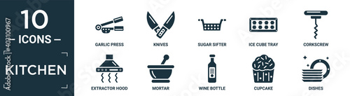 filled kitchen icon set. contain flat garlic press, knives, sugar sifter, ice cube tray, corkscrew, extractor hood, mortar, wine bottle, cupcake, dishes icons in editable format..