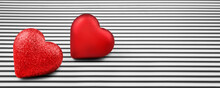 Two Red Hearts And Black White Background