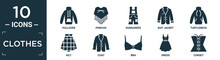 Filled Clothes Icon Set. Contain Flat Pullover, Poncho, Dungarees, Suit Jacket, Turtleneck, Kilt, Coat, Bra, Dress, Corset Icons In Editable Format..