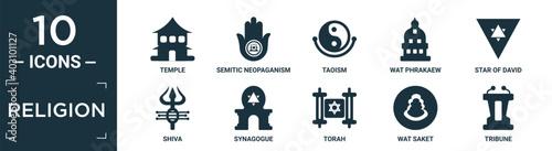 Fototapeta filled religion icon set. contain flat temple, semitic neopaganism, taoism, wat phrakaew, star of david, shiva, synagogue, torah, wat saket, tribune icons in editable format.. obraz