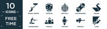 Filled Free Time Icon Set. Contain Flat Bungee Jumping, Traveling, Disco Ball, Skateboarding, Origami, Wakeboarding, Pedestal, Watches, Paintball, Climb Icons In Editable Format..