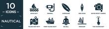 Filled Nautical Icon Set. Contain Flat Wood Raft, Snorkel, Surfboard, One Kayak, Water Resist Camera, Folded Map With Placeholder, Ferry Facing Right, Big Bell, Windsurf, Fish Shaped Bait Icons In.