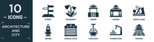 Filled Architecture And City Icon Set. Contain Flat Street, Snowdrop, Arbor, Gazebo, Wood Plane, Gnome, Garage Door, Cableway, Foundation, Paifang Icons In Editable Format..