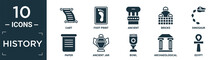 Filled History Icon Set. Contain Flat Cart, Foot Print, Ancient, Bricks, Dinosaur, Paper, Ancient Jar, Bowl, Archaeological, Egypt Icons In Editable Format..